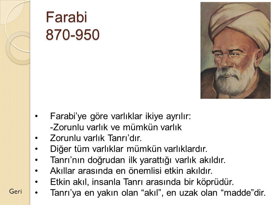Farabi 870-950 Farabi'ye göre varlıklar ikiye ayrılır: