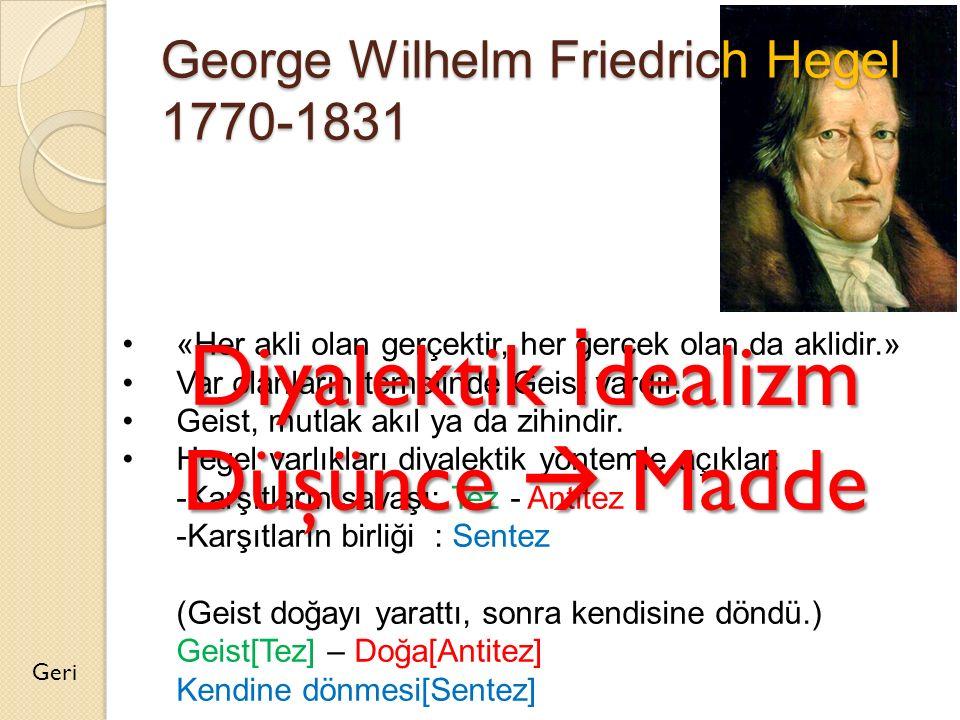 George Wilhelm Friedrich Hegel 1770-1831