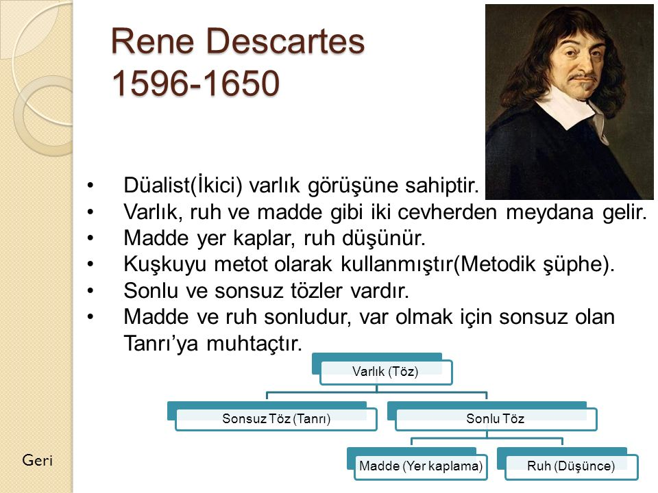 Rene Descartes 1596-1650 Düalist(İkici) varlık görüşüne sahiptir.