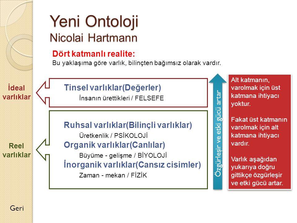 Yeni Ontoloji Nicolai Hartmann