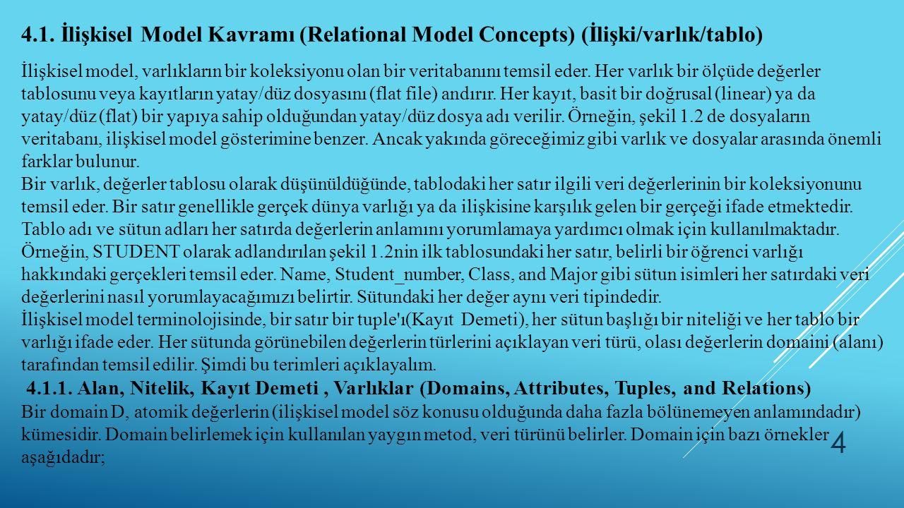 4.1. İlişkisel Model Kavramı (Relational Model Concepts) (İlişki/varlık/tablo)