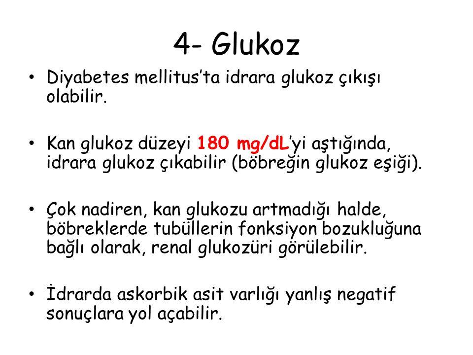 4- Glukoz Diyabetes mellitus'ta idrara glukoz çıkışı olabilir.