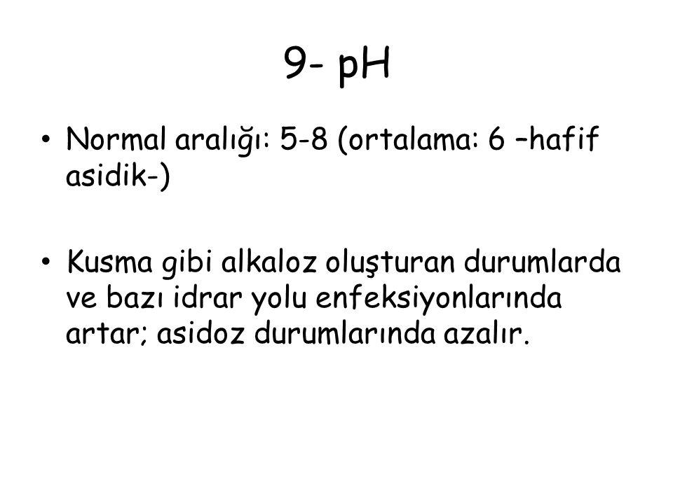 9- pH Normal aralığı: 5-8 (ortalama: 6 –hafif asidik-)