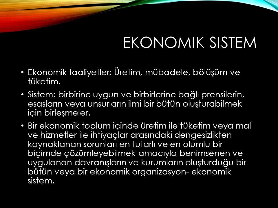 Ekonomik sistem Ekonomik faaliyetler: Üretim, mübadele, bölüşüm ve tüketim.