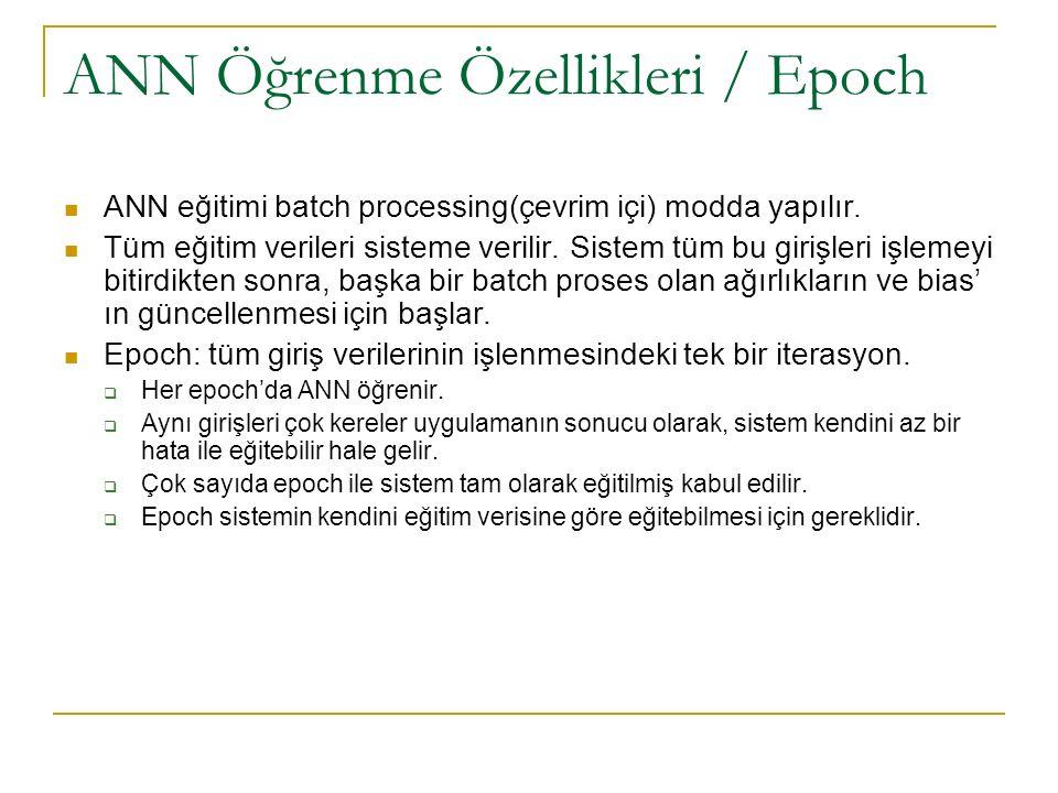 ANN Öğrenme Özellikleri / Epoch