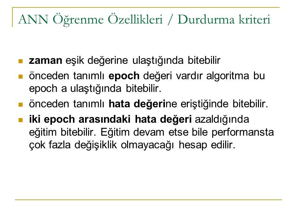 ANN Öğrenme Özellikleri / Durdurma kriteri