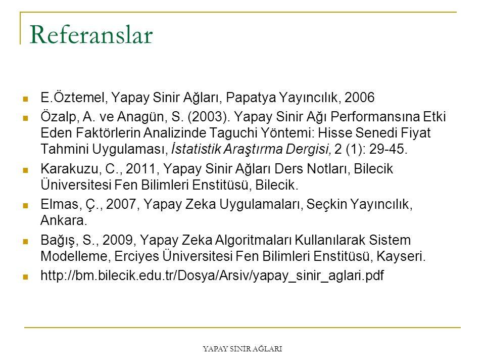Referanslar E.Öztemel, Yapay Sinir Ağları, Papatya Yayıncılık, 2006