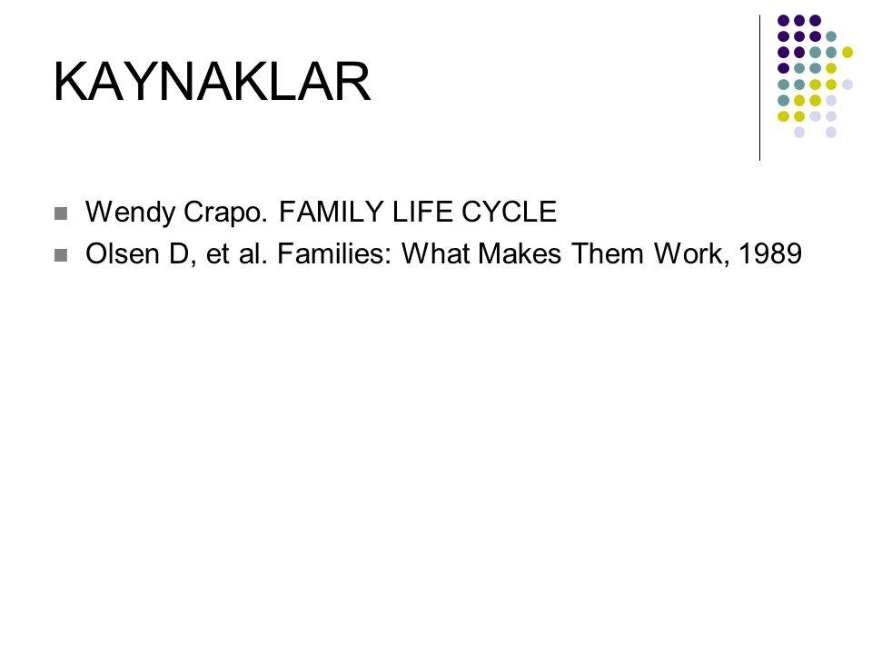 KAYNAKLAR Wendy Crapo. FAMILY LIFE CYCLE