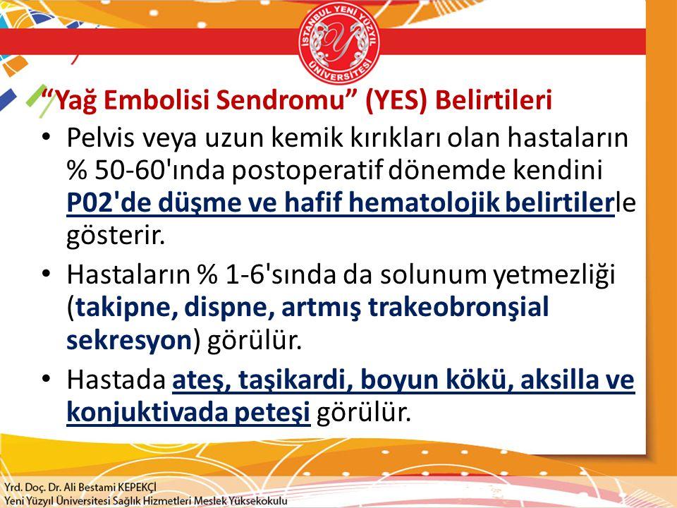 Yağ Embolisi Sendromu (YES) Belirtileri