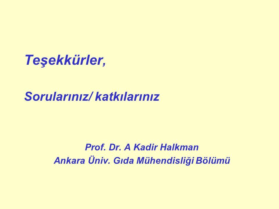 Ankara Üniv. Gıda Mühendisliği Bölümü