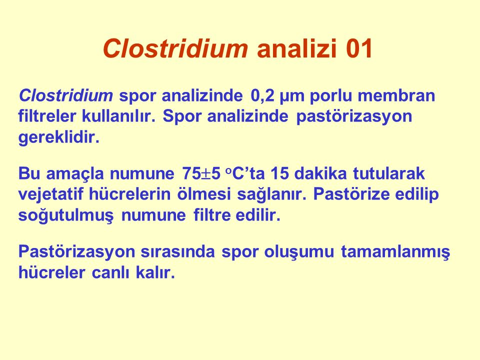 Clostridium analizi 01 Clostridium spor analizinde 0,2 µm porlu membran filtreler kullanılır. Spor analizinde pastörizasyon gereklidir.