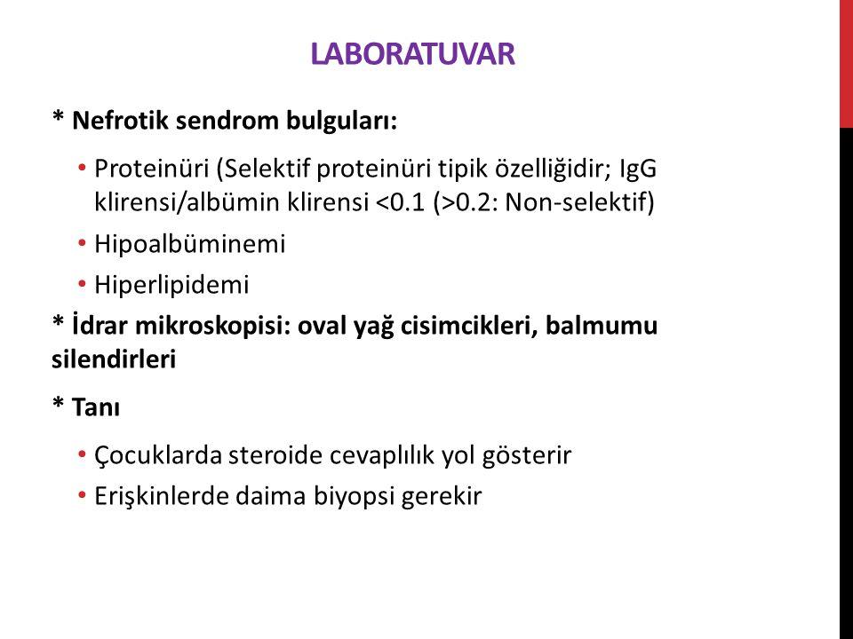 LaboratuVar * Nefrotik sendrom bulguları: