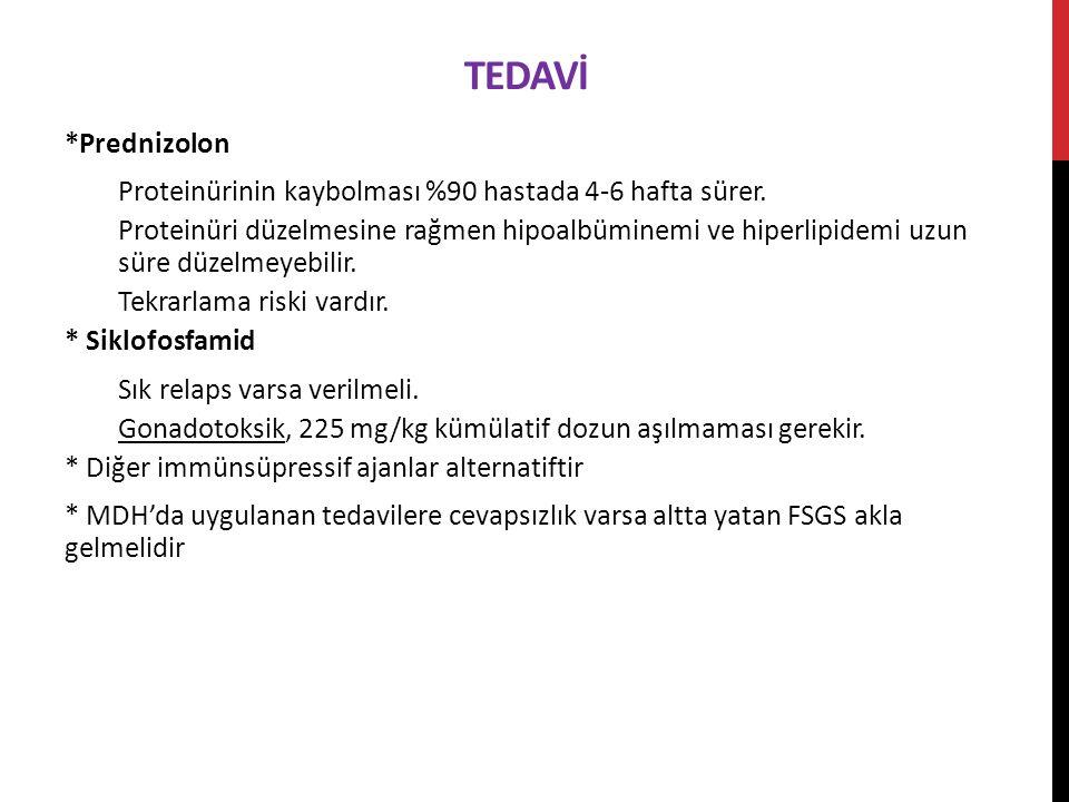 Tedavİ *Prednizolon. Proteinürinin kaybolması %90 hastada 4-6 hafta sürer.