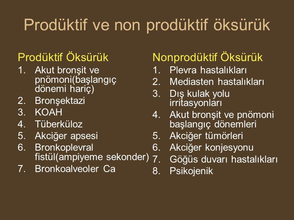 Prodüktif ve non prodüktif öksürük