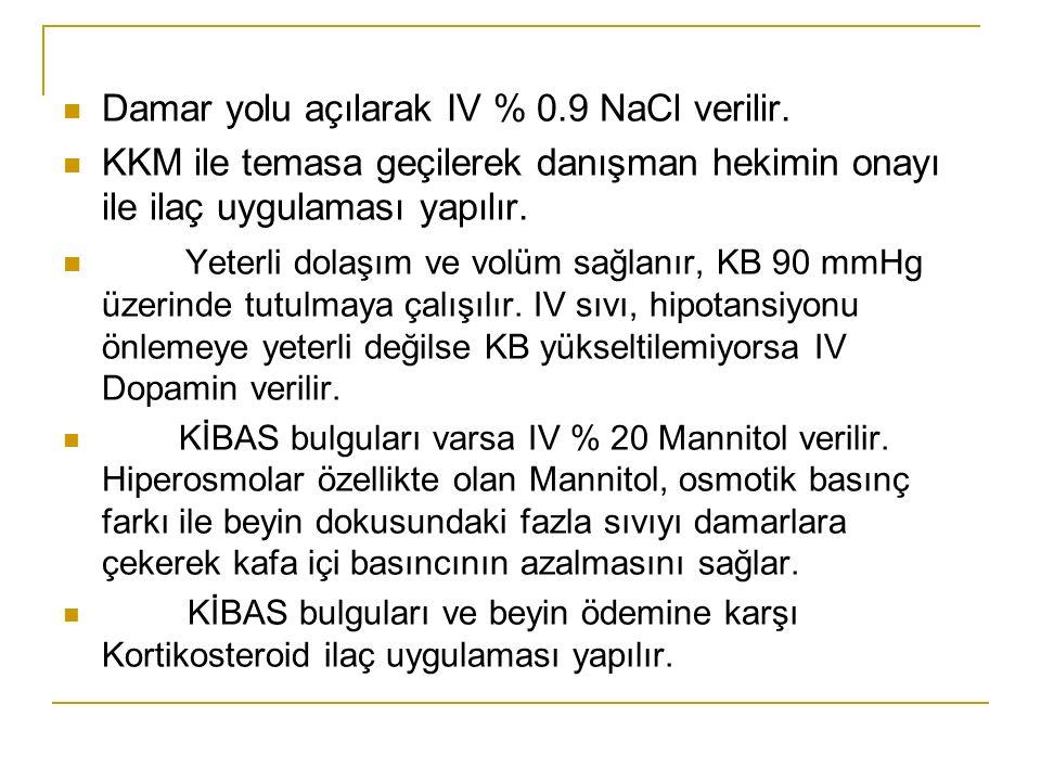 Damar yolu açılarak IV % 0.9 NaCl verilir.
