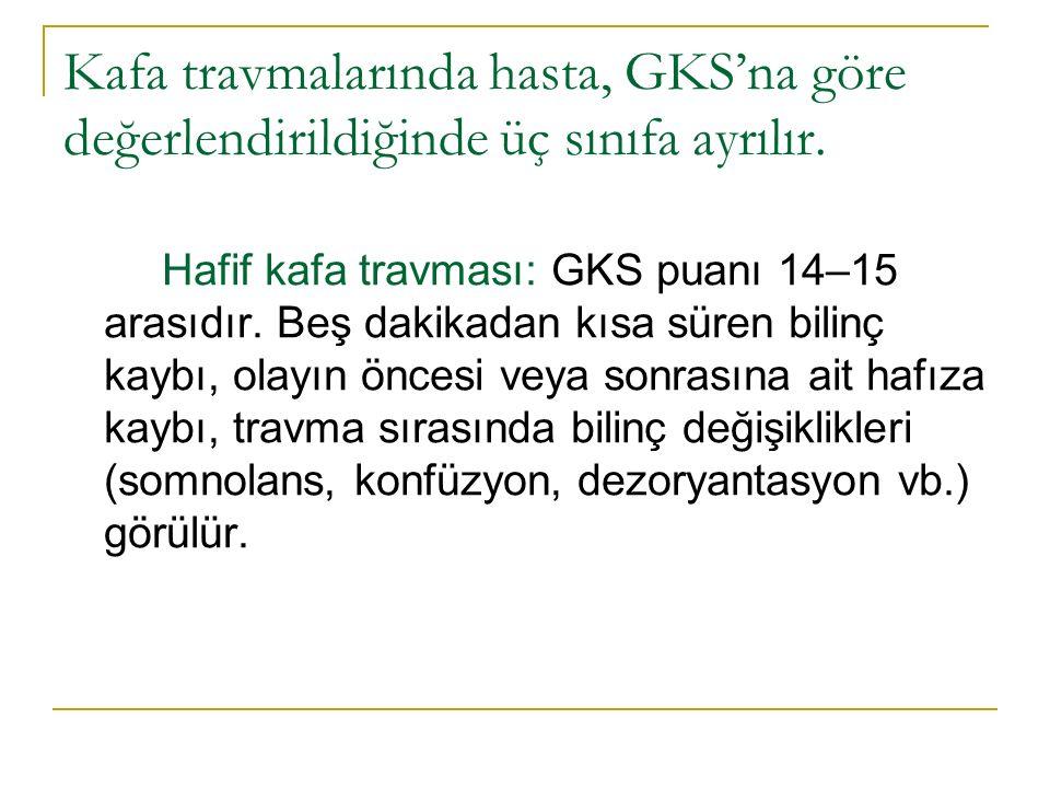 Kafa travmalarında hasta, GKS'na göre değerlendirildiğinde üç sınıfa ayrılır.