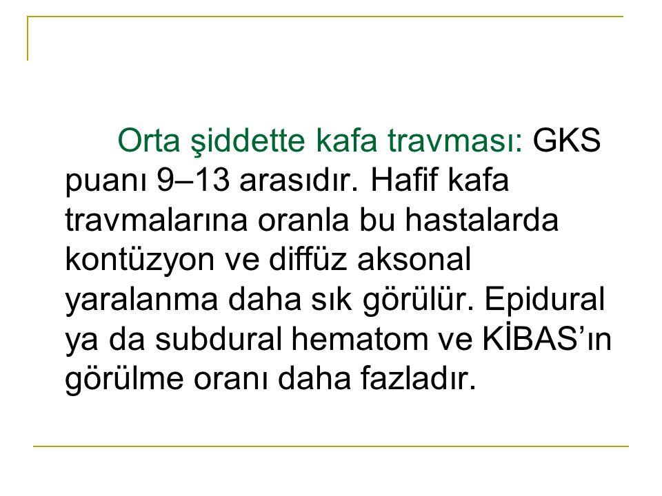 Orta şiddette kafa travması: GKS puanı 9–13 arasıdır