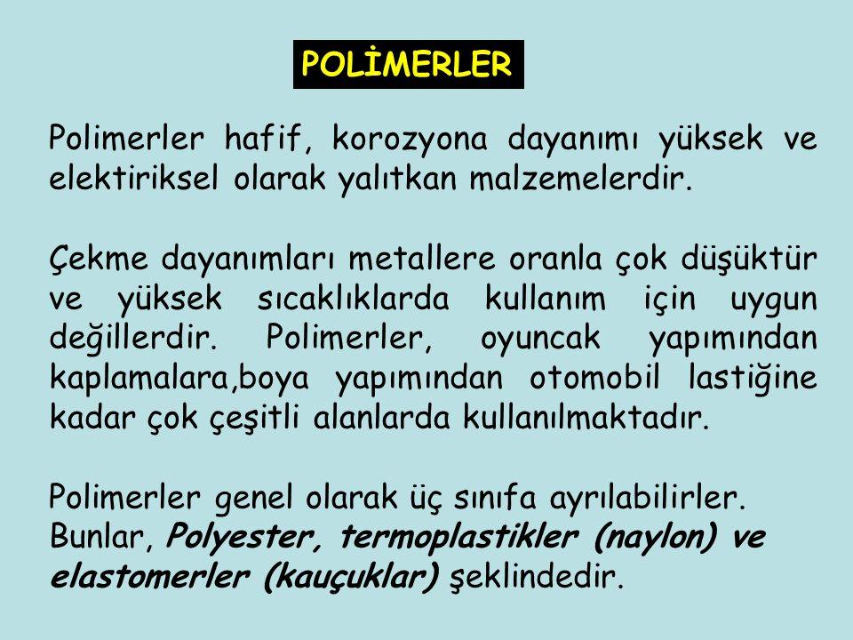 POLİMERLER Polimerler hafif, korozyona dayanımı yüksek ve elektiriksel olarak yalıtkan malzemelerdir.