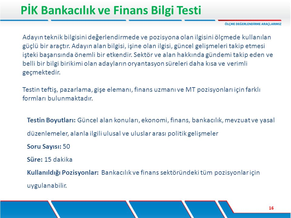 PİK Bankacılık ve Finans Bilgi Testi