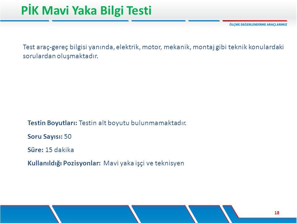 PİK Mavi Yaka Bilgi Testi