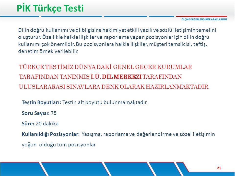 PİK Türkçe Testi