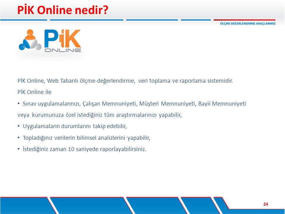 PİK Online nedir PİK Online, Web Tabanlı ölçme-değerlendirme, veri toplama ve raporlama sistemidir.