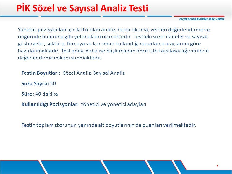 PİK Sözel ve Sayısal Analiz Testi