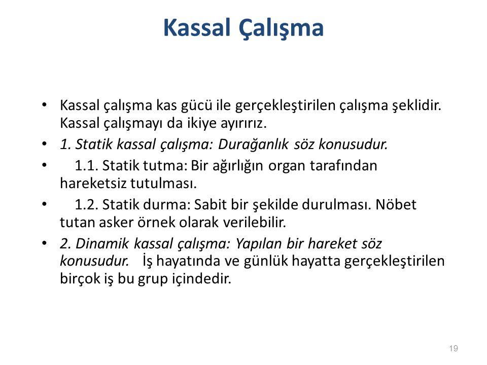 Kassal Çalışma Kassal çalışma kas gücü ile gerçekleştirilen çalışma şeklidir. Kassal çalışmayı da ikiye ayırırız.