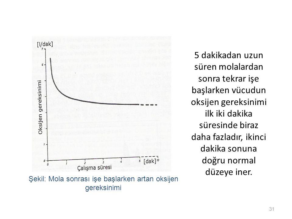 Şekil: Mola sonrası işe başlarken artan oksijen gereksinimi