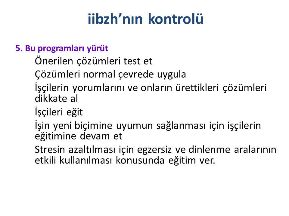 iibzh'nın kontrolü Çözümleri normal çevrede uygula