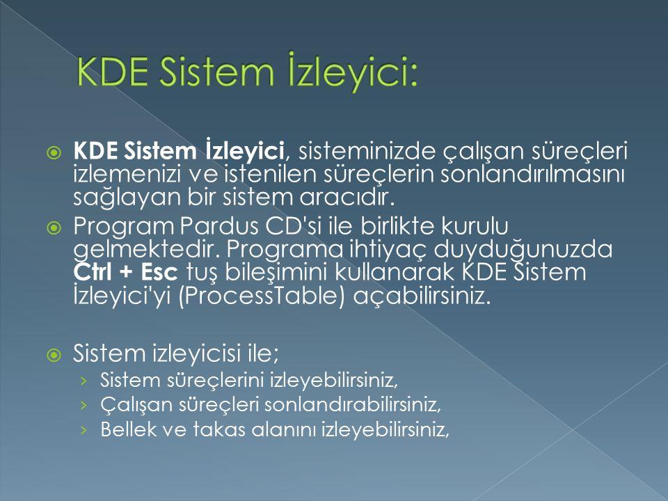 KDE Sistem İzleyici: