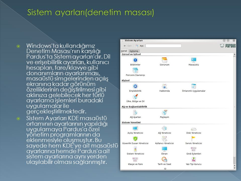 Sistem ayarları(denetim masası)