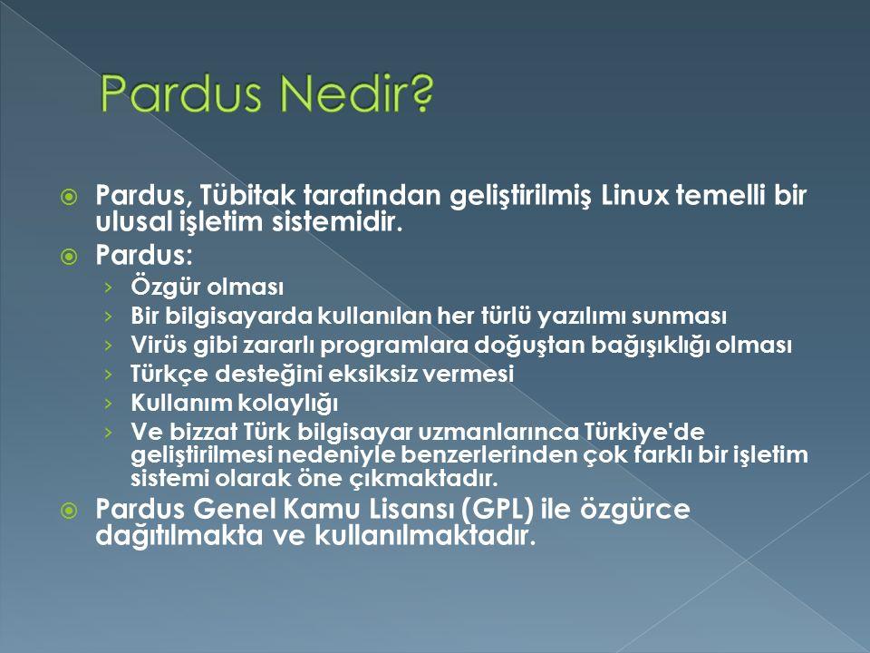 Pardus Nedir Pardus, Tübitak tarafından geliştirilmiş Linux temelli bir ulusal işletim sistemidir.