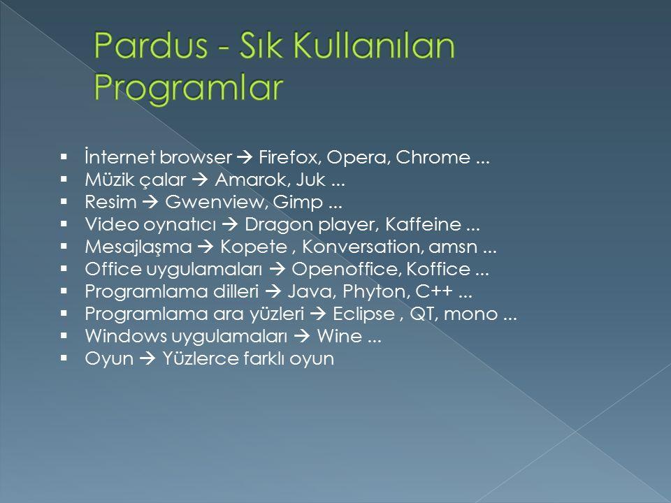Pardus - Sık Kullanılan Programlar