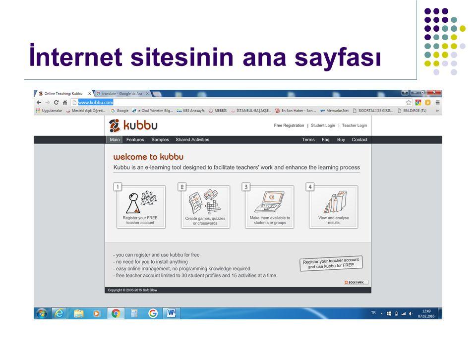 İnternet sitesinin ana sayfası