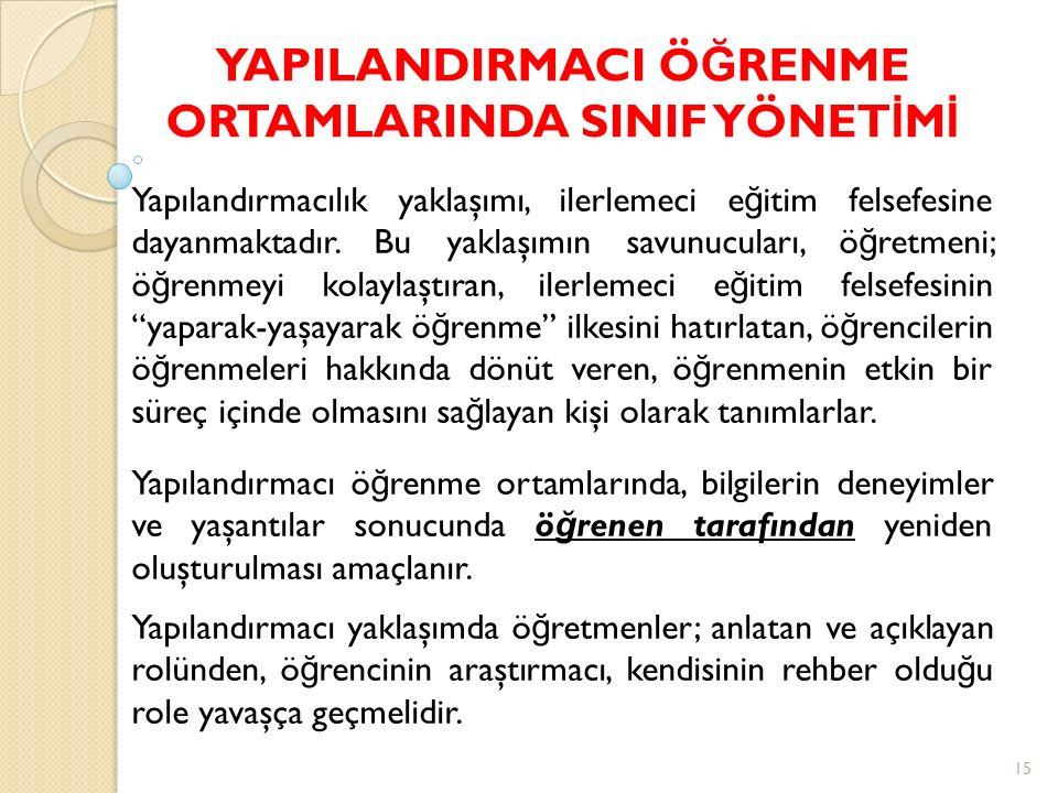 YAPILANDIRMACI ÖĞRENME ORTAMLARINDA SINIF YÖNETİMİ