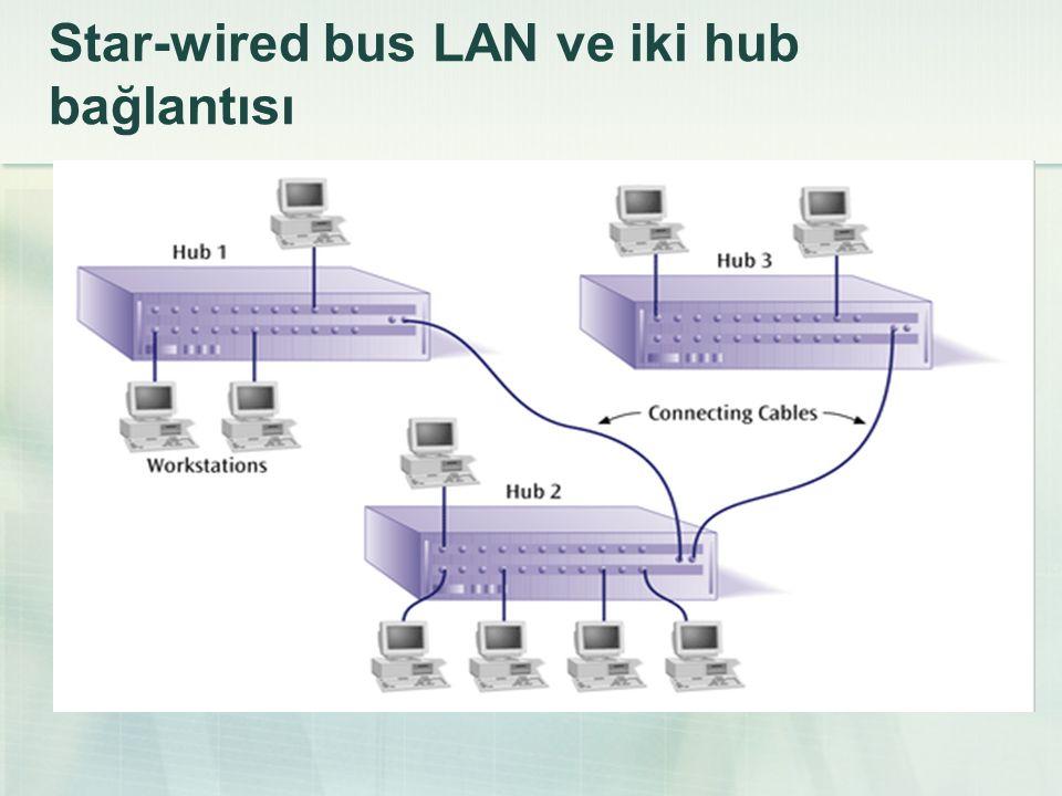 Star-wired bus LAN ve iki hub bağlantısı