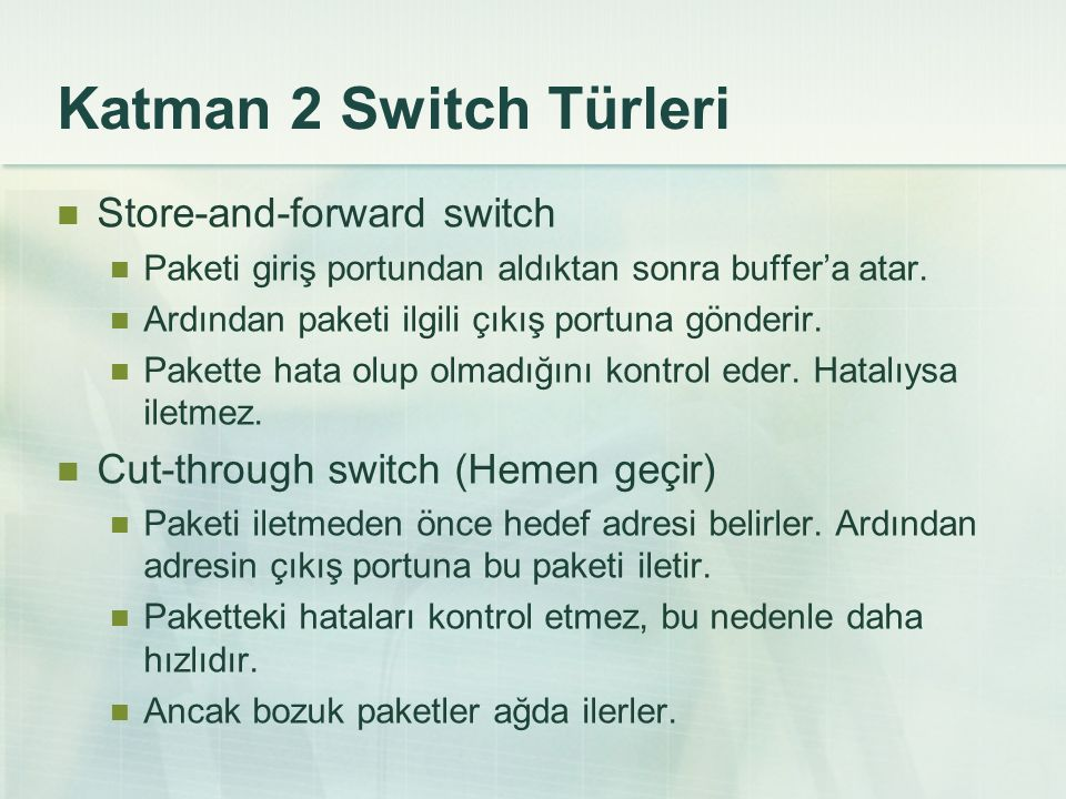 Katman 2 Switch Türleri Store-and-forward switch