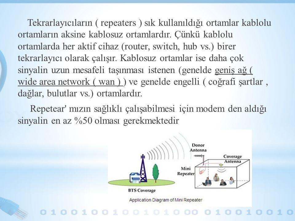 Tekrarlayıcıların ( repeaters ) sık kullanıldığı ortamlar kablolu ortamların aksine kablosuz ortamlardır.