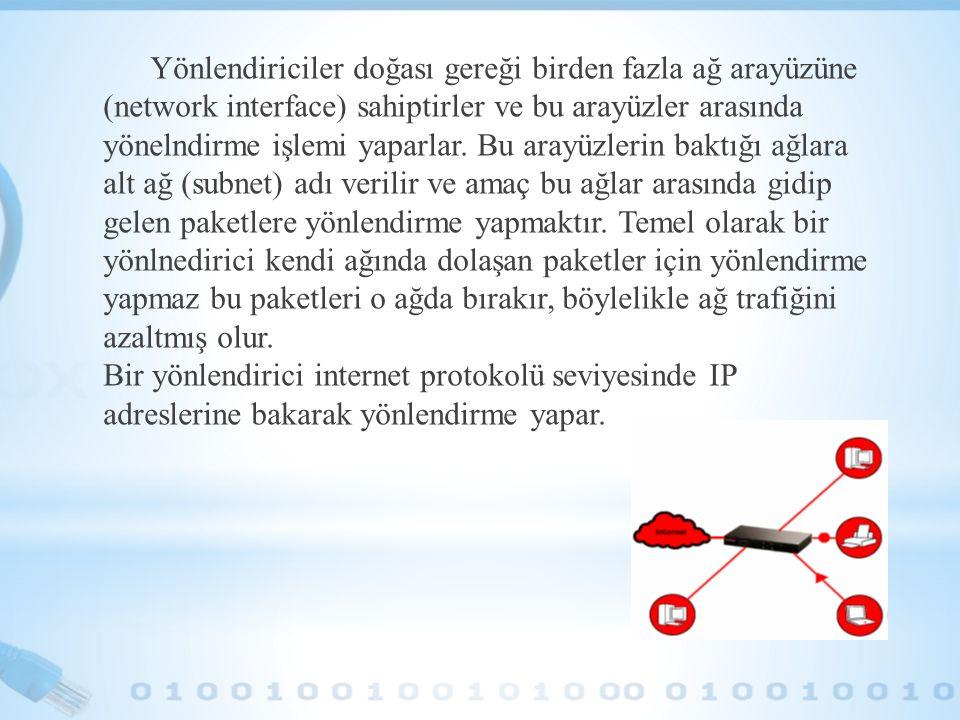 Yönlendiriciler doğası gereği birden fazla ağ arayüzüne (network interface) sahiptirler ve bu arayüzler arasında yönelndirme işlemi yaparlar.