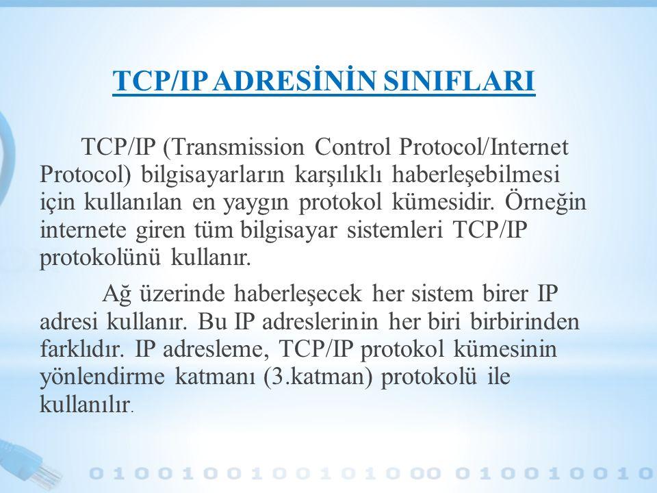 TCP/IP ADRESİNİN SINIFLARI