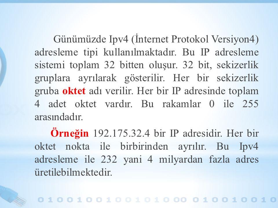 Günümüzde Ipv4 (İnternet Protokol Versiyon4) adresleme tipi kullanılmaktadır.