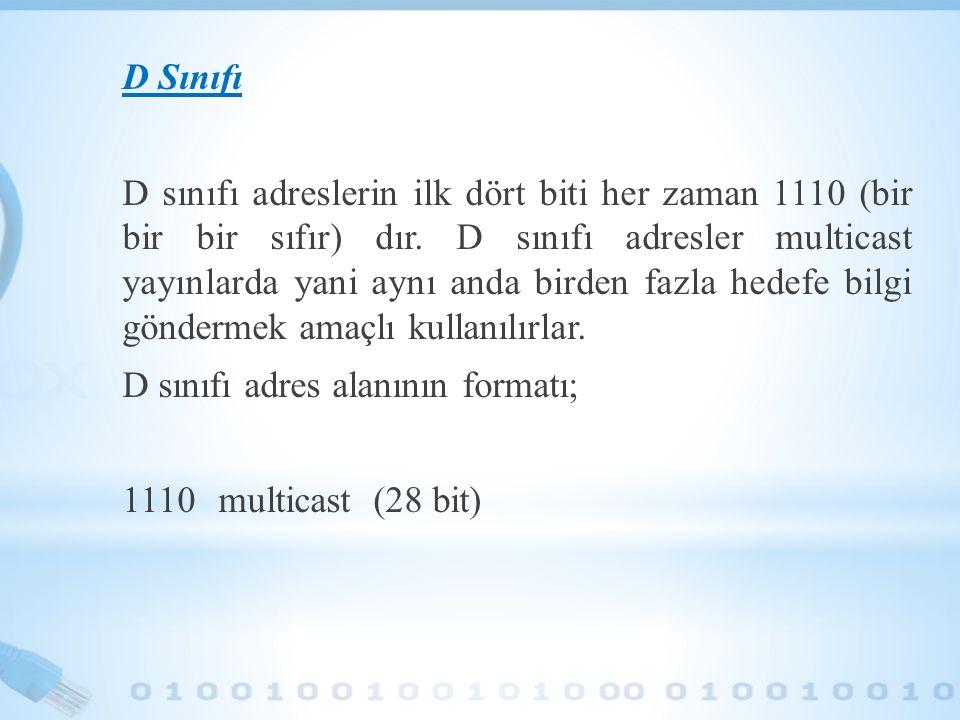 D Sınıfı D sınıfı adreslerin ilk dört biti her zaman 1110 (bir bir bir sıfır) dır.