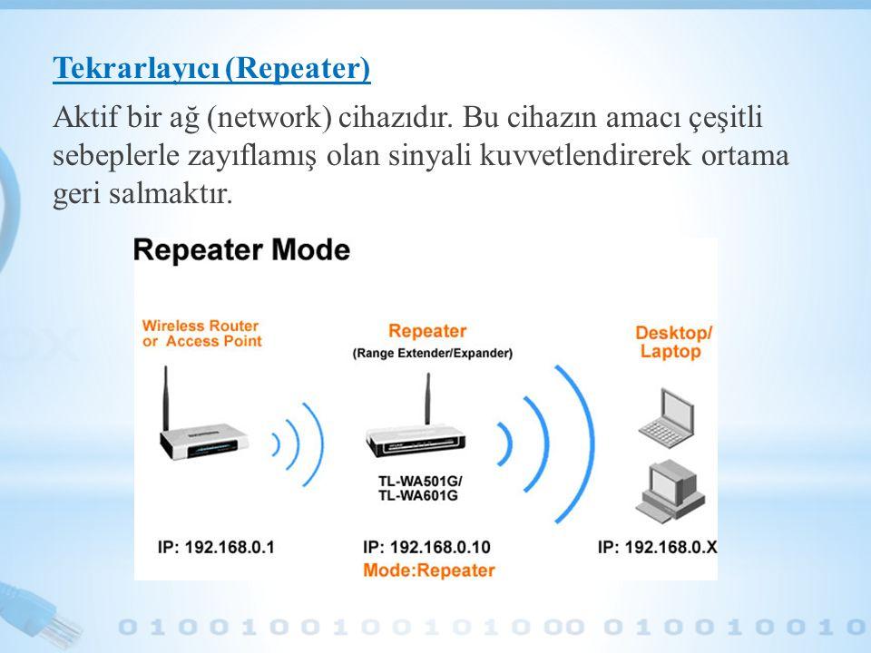 Tekrarlayıcı (Repeater) Aktif bir ağ (network) cihazıdır
