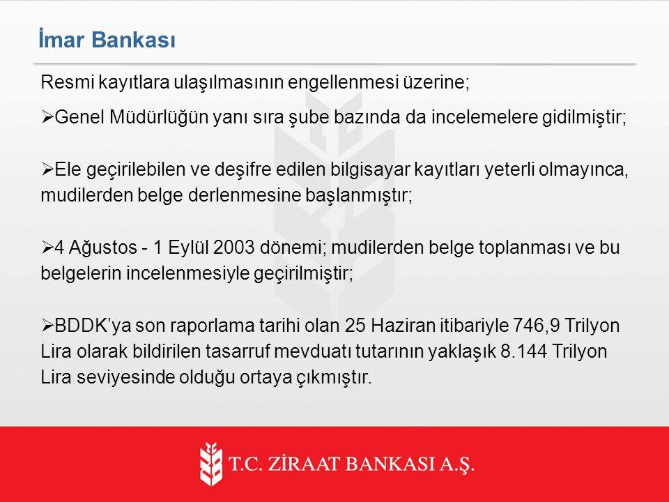İmar Bankası Resmi kayıtlara ulaşılmasının engellenmesi üzerine;