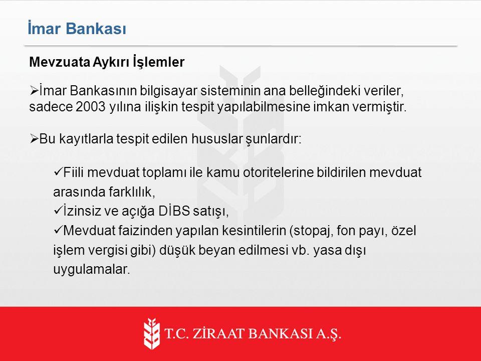 İmar Bankası Mevzuata Aykırı İşlemler