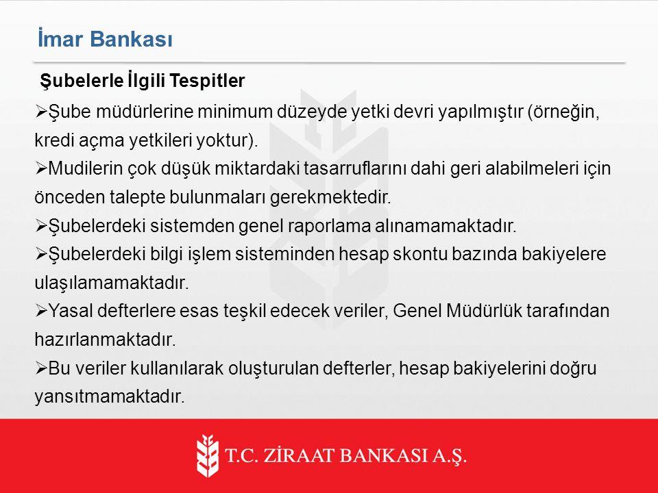 İmar Bankası Şubelerle İlgili Tespitler