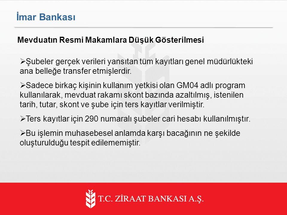 İmar Bankası Mevduatın Resmi Makamlara Düşük Gösterilmesi