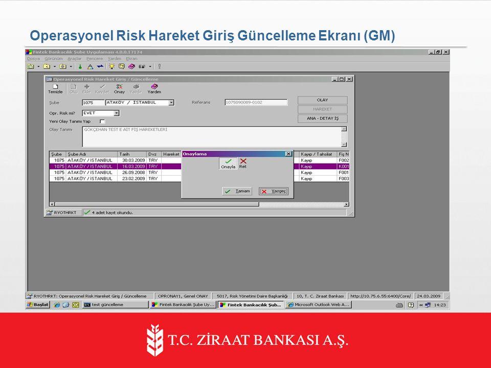 Operasyonel Risk Hareket Giriş Güncelleme Ekranı (GM)