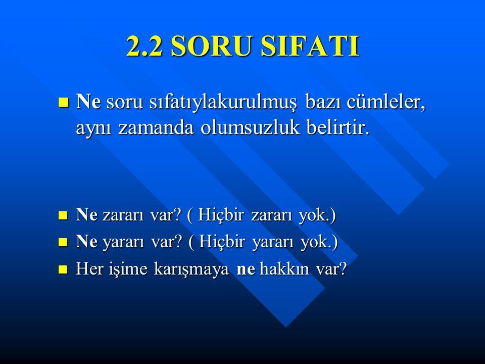 2.2 SORU SIFATI Ne soru sıfatıylakurulmuş bazı cümleler, aynı zamanda olumsuzluk belirtir. Ne zararı var ( Hiçbir zararı yok.)